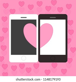 love couple in mobile phone sent pink heart and love gift.design for Valentine's day festival on pink background. Vector illustration.paper art style.