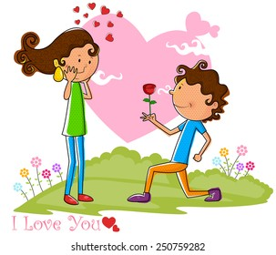 Love couple proposing with rose in vector