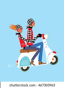 Love couple riding a motorbike. Man and girl travelling by vespa scooter. Vector illustration