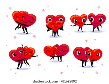 Love couple set. Scenes with two funny cute flat cartoon hearts holding hands, kissing, hugging, dancing, smiling. Wedding, happiness concept. Vector illustration
