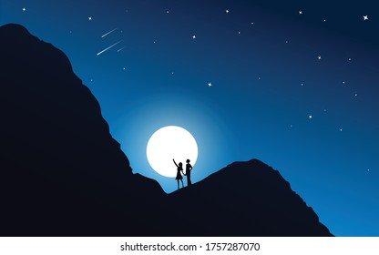 Love couple starring at meteors at night HD wallpaper Background, Night Sky, Mountain, Every object in seperate layers, EPS10 HD background Darkness, Stars, Moon