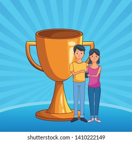 love couple young people using technology smartphone succes concept trophy cartoon  over blue striped background vector illustration graphic design