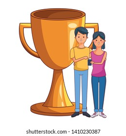 love couple young people using technology smartphone succes concept trophy cartoon vector illustration graphic design