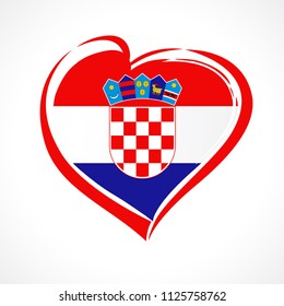 Love Croatia emblem with heart in national flag color with coat of arms. National holiday in Croatia 25 June vector greetings card. Celebrate Croatian anniversary of independence 1991