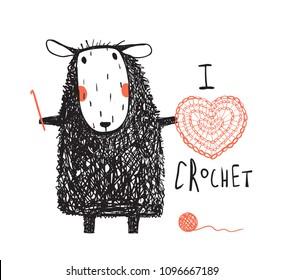 0ca9d8c07a7 I love crochet sheep hand drawn design. Cute adorable sheep crocheting a  red heart.