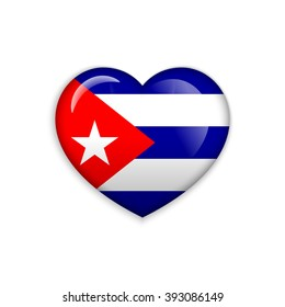 Love Cuba  symbol. Heart flag icon. Vector illustration.