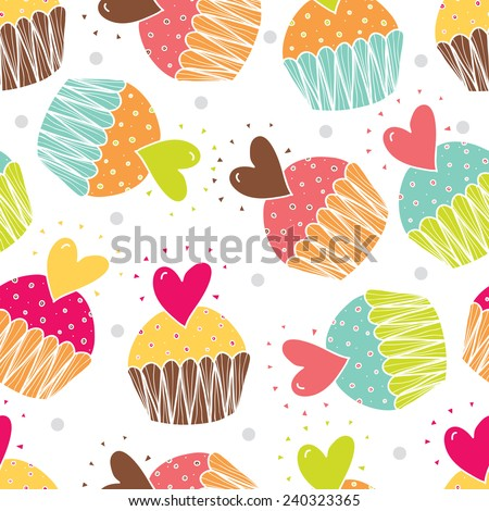 Love Cupcakes Cute Seamless Pattern Stock Vector Royalty Free