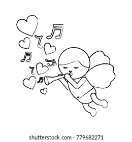 love cupid flying with trumpet music hearts romantic