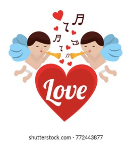love cupid heart with trumpet music romance
