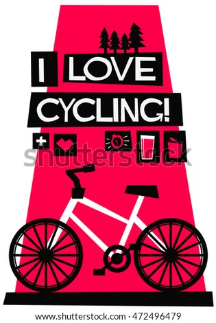 Love Cycling Flat Style Vector Illustration Stock Vector Royalty
