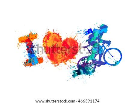 Love Cycling Watercolor Vector Splash Paint Stock Vector Royalty