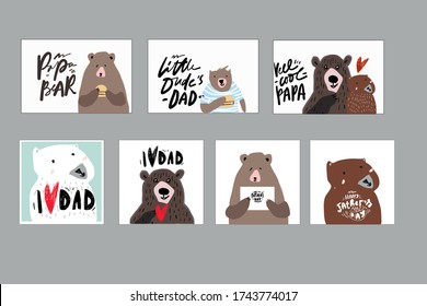 I love dad. Little dude's dad. Bear. Flat illustration. Father's Day card.