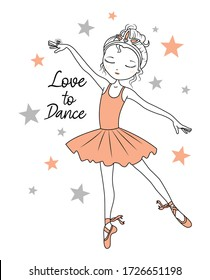 love to dance. ballet dancer. ballerina. girl graphic tees vector illustration design and other uses