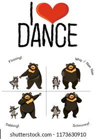 I love dance bear and raccoon illustration