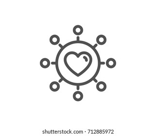 Love dating line icon. Relationships network sign. Valentines day or Heart symbol. Quality design element. Editable stroke. Vector