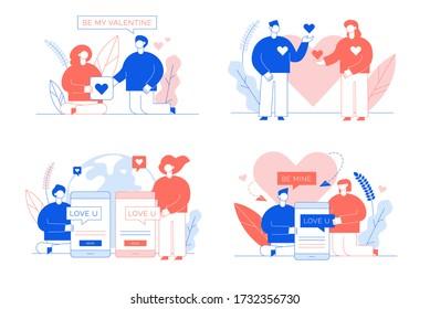 Love declaration via social media network card set. Romantic feeling, positive emotion sharing. Young happy couple relationship, friendship. Online dating digital communication. Mobile chat messenger