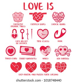 Love is - definition of love in heart Symbols