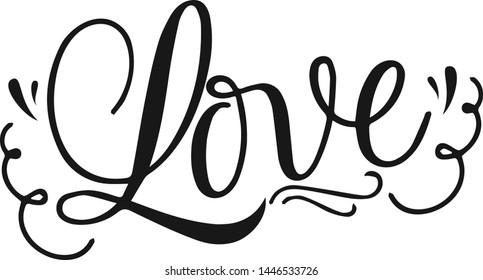 Love Design Decorative Typography Hand Lettering