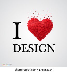 i love design, font type with heart sign.