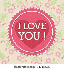 love design over floral background vector illustration