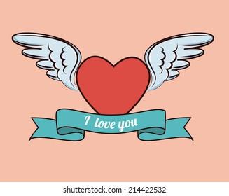 Love design over pink background, vector illustration