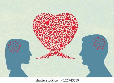 Love dialogue. Vector.