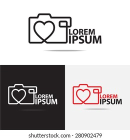 Love digital camera logo design. (Set of Camera logo design)