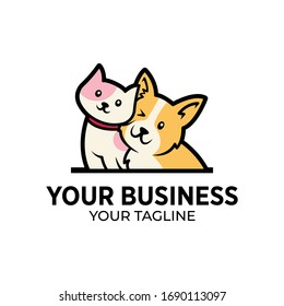 Love Dog and Cat Sitting Logo Design Template