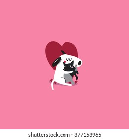 love dog and cat vector art