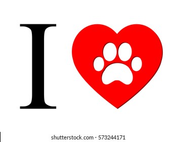 I love dogs logo. I Love My Dog Text With Red Heart Paw Print. Raster Illustration Isolated on white