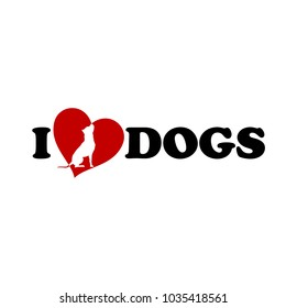 I love dogs text with heart vector illustration American Pit Bull Terrier silhouette