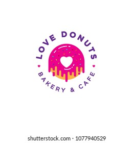 Love Donut logo. Bakery and donuts cafe emblem. Pink Donut with heart logo. A beautiful Donut with cream and small candies. Japanese style.