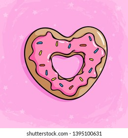 Love donut with strawberry cream for topping Cute donut with colored doodle style