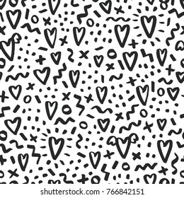 Love doodle background with hearts. Vector hand drawn grunge background