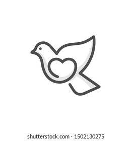 Love dove logo design template - a pigeon carrying heart in doodle style. line art logo