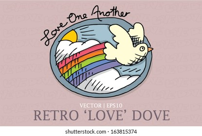 Love dove retro hand drawn style love one another bible verse for Christian church vector | EPS10