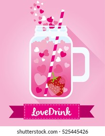 Love drink with strawberry and hearts. Flat vectors