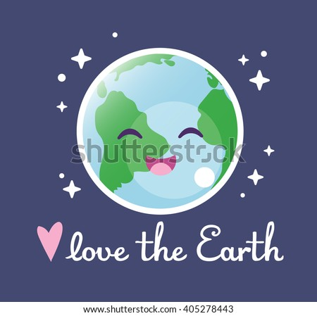 Love Earth Cute Drawing Lettering Save Stock Vector Royalty Free
