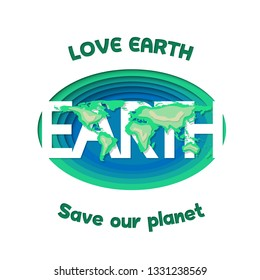 Love earth save our planet paper cut deep icon  design