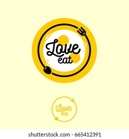 Love Eat logo. Cafe or restaurant emblem. Fork, spoon and fried eggs in the yellow plate.