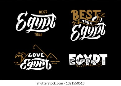 Love Egypt hand drawing logo, lettering, calligraphy. Logos for banner, poster, postcard, website. Vector template eps 10