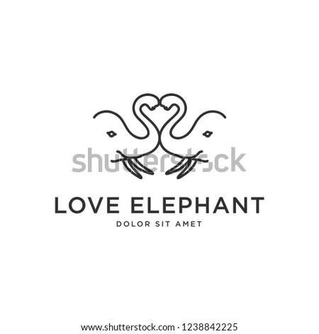 6cf14b280 Love Elephant Logo Logo Concept Two Stock Vector (Royalty Free ...