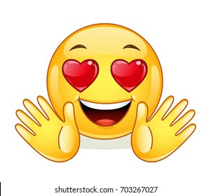 In love emoticon with open hands.
