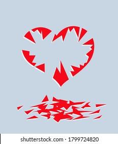 Love is end. Crashed heart. Vector image for illustration.