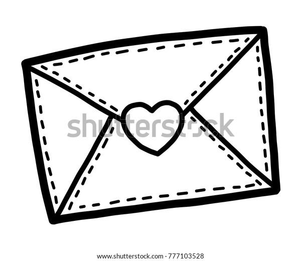 Love Envelope Cartoon Vector Illustration Black Stock ...