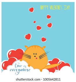 Love is everywhere and Happy Valentine's Day card with the funny cat