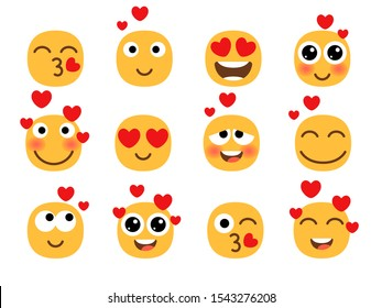 Love eyes emoticons vector Love eyes emoticons facesfaces. Yellow loving fun emoticon set, humor mood smileys with hearts, sweet cartoon emoji characters isolated on white background