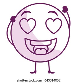 in love face emoticon kawaii character