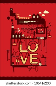 love factory/ valentine's day card poster deign