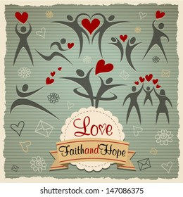 Love Faith and Hope vintage vector set. Graphic Design Editable For Your Design.